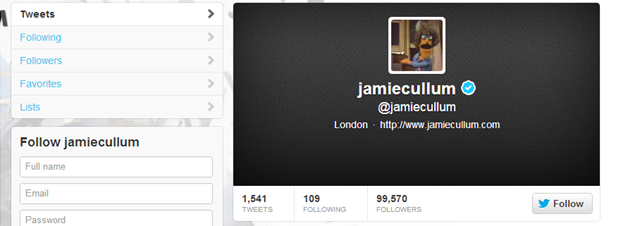 Jamie's Twitter page
